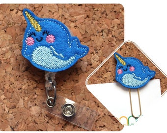 NARWHAL Badge Reel,  Planner Clip, Felt ID Badge Holder, Lanyard, Retractable Badge, Magnet, Bookmark, Pin, Paperclips for Planners, 1741