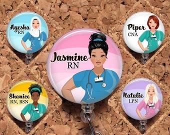 Nurse Badge Reel, Personalized Retractable ID Holder, Custom Lanyard, Hair Choice Carabiner, Stethoscope, RN CNA Mylar N1065