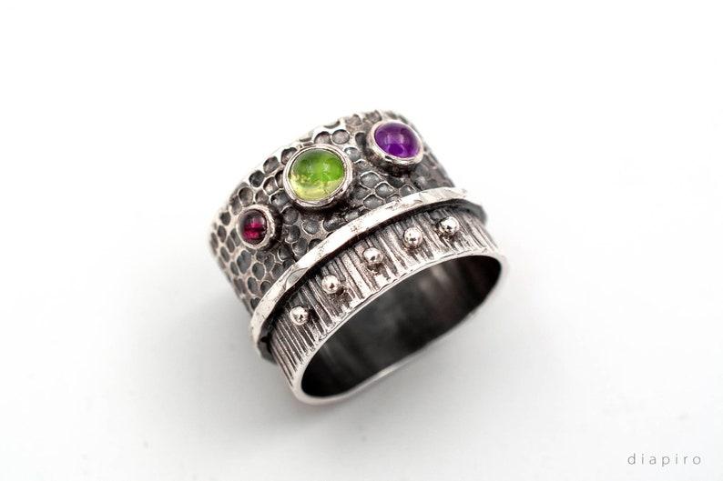 Sterling silver 925 ring band Peridot Garnet Amethyst Ring Triple Gemstone