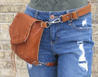 0b7c7582812 Brown Leather Belt Bag with leg strap
