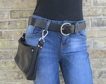 Men's or Women's Black Leather Hip Bag, biker hip pouch, clip on belt loop bag, waist bag, festival fanny pack, belt bag, bum bag, boho chic