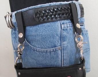 Belt Attachment for Hip Bag, Black Leather, Hip Purse Accessory