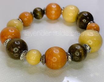 Multicolor Wood Stretch Bracelet and Earrings Set (201876B)