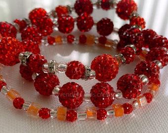 Triple Stack Red Rhinestone Bracelet Set (202120B)