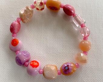 Pink Bead Soup Stretch Bracelet (202127B)