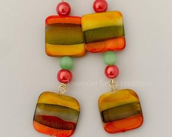 Rainbow Shell Dangle Earrings (201932E)