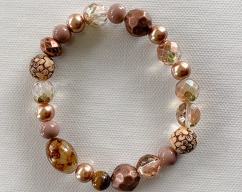 Bronze and Brown Bead Soup Stretch Bracelet (202126B)
