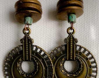Golden Wood and Bronze Round Pendant Earrings (202125E)