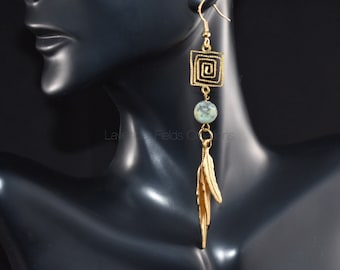 African Turquoise and Brass Feather Dangle (201865E)