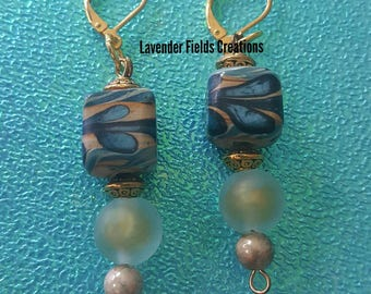 Swirl Ceramic and Glass Bead Drop Earrings  (201759E)
