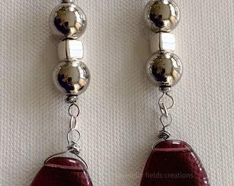 Amethyst Triangle and Metal Dangle Earrings (202123E)