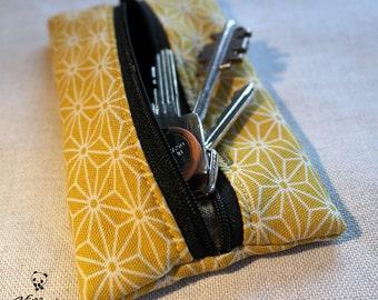 Portachiavi chiuso con cerniera, realizzato a mano con stoffa tradizionale giapponese