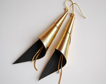 cone genuine leather earrings - gold plated jewelry - gold earrings - modern earrings - elegant earrings - geometric jewelry-pendant earring