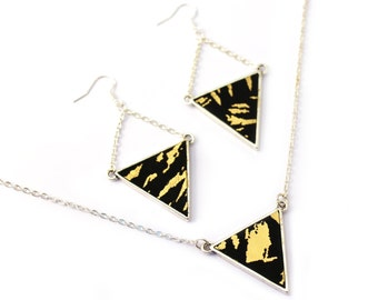 Earrings triangle - geometric - earrings leather - leather set - black and gold - plated silver - jewelry woman-- elegant