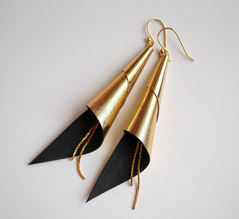 cone genuine leather earrings  gold plated jewelry  gold image 0