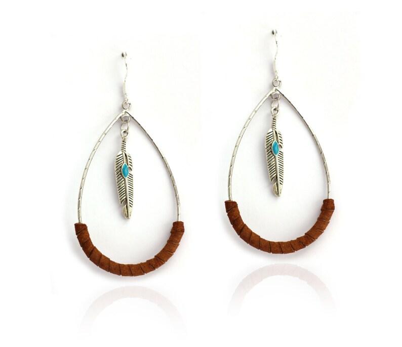 43f4d38d6 Creole drop earrings women's earrings wrapped brown   Etsy