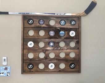 Wood Hockey Puck Holder - 5x5 Display
