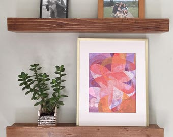 Botanical monotype print, abstract organic floral monotype print with mat