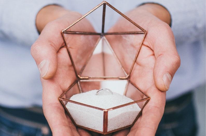 Glass Wedding Ring box Hochzeit ring box Wedding ring holder image 0