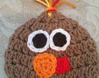 Crocheted Turkey Hat Pattern for Newborn to Adult