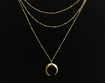 x3 Layered Necklaces, 14k Gold Filled or Sterling Silver ·Choker and Moon Horn Necklace