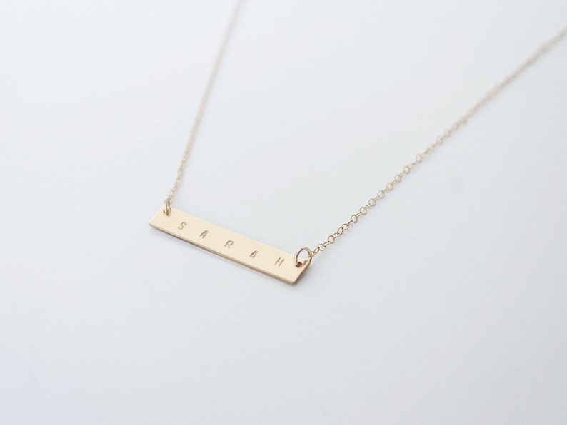 Custom Name Horizontal Bar Necklace 14k Gold Filled or image 0