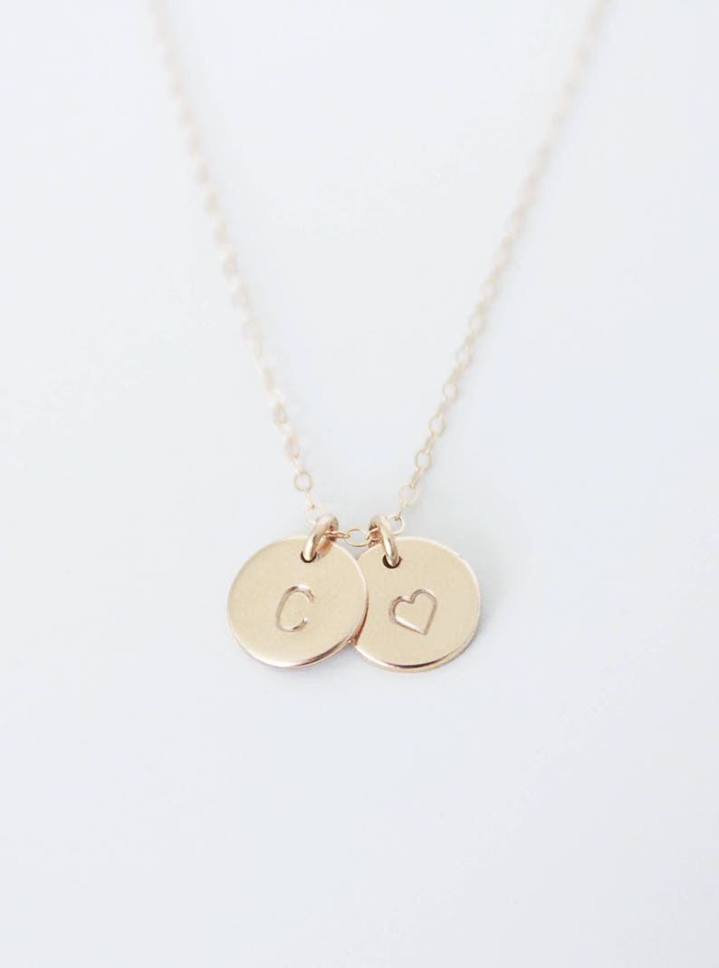 Letter Necklace  Delicate Minimalist  Hand Stamped  Mother/'s Necklace Gift Idea Personalized Necklace Two Circles Disc Custom  Initial