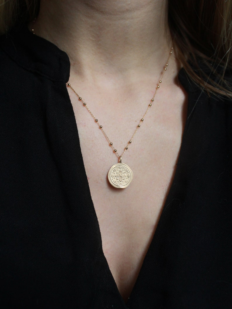 Gold Plated or Sterling Silver \u00b7 Bohemian Necklace \u00b7 Gift for Her Antique Medal Necklace