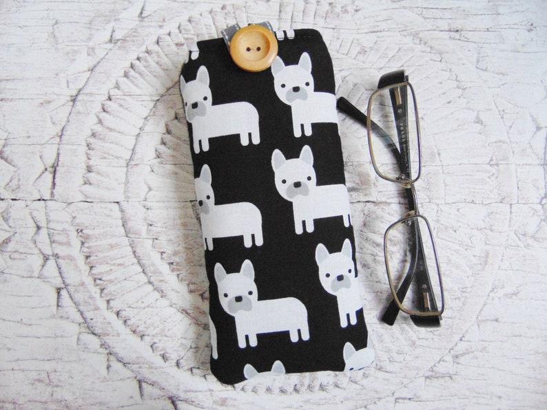 a31ae14319b0 Dog Glasses Case Top Dog Pouch French Bulldog & Tweed   Etsy