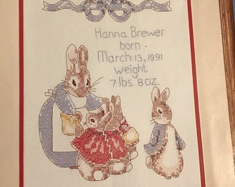Mama Bunny Snuggles Baby Rabbits by Beatrix Potter Counted Cross Stitch Pattern