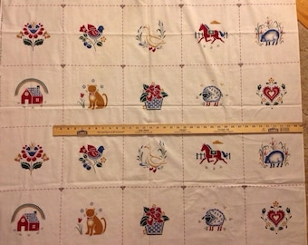 Vintage Quilt Blocks Fabric Cheater Quilt Squares