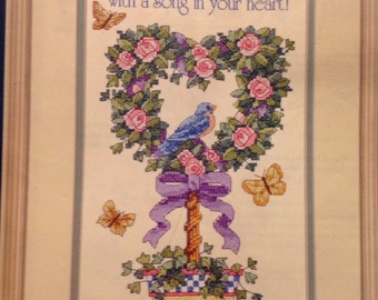 """Sunset counted cross stitch """"A Song in Your Heart"""" 8"""" by 16"""""""