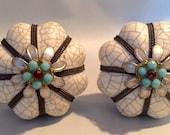 NEW Set 2 Scalloped Crackle Ceramic Knobs Aqua Blue Jewels Grey Metal Banding Pulls Handle Hardware