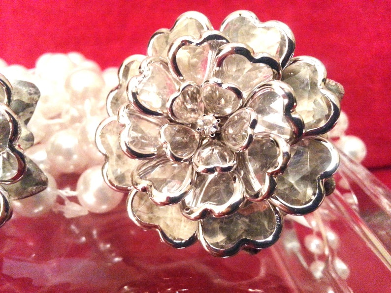 New 6 Silver FLOWER Rhinestone Crystal Knobs Handles XXLarge