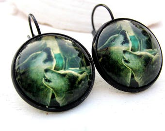 Earring black wolves cabochon Wolf