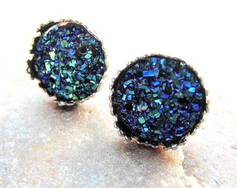 Druzy earrings silver studs