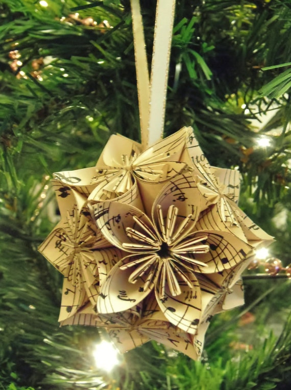 Etsy Christmas Ornaments.Vintage Music Notes Christmas Ornaments Sheet Music Origami Flowers