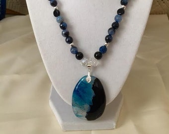Blue and Black Druzy Agate Pendant on Necklace of Spider Web Blue Agate, Black Onyx, Crystal and Silver Beads.