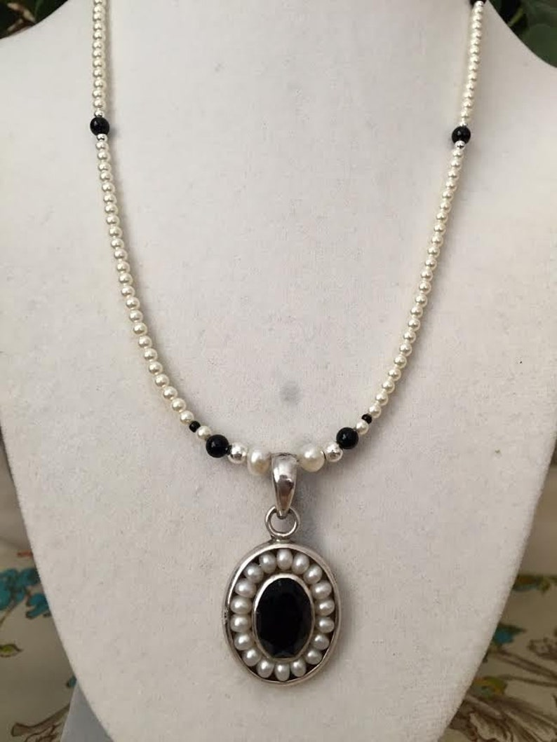 Black Onyx and Pearl Pendant on a Pearl and Onyx Necklace