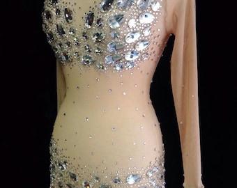Rhinestone Dress, Crystal Gown, Custom Costume Dress, Burlesque, Belly Dance, Naked Dress, Rhinestone Covered Costume, All Sizes, for Women