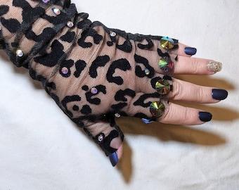Black Sheer Gloves for Women, Rhinestone Gloves, Kitten Mittens, Crystal Gloves, Fingerless Gloves, Leopard Print Gifts, Halloween Costume