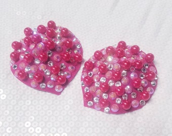 Pearl Pasties, Pink Pasties, Teardrop Pasties, Rhinestone Pasties, Burlesque Costume, Sexy gift, for her