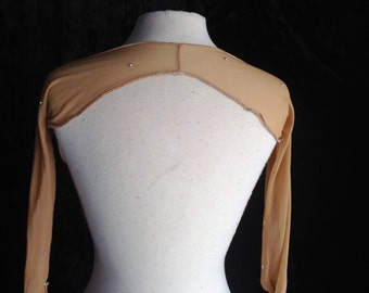 Nude Mesh Sheer Long Sleeve Rhinestone Shrug Belly Dance Burlesque Ballroom Figure Skating Bellydance Cabaret