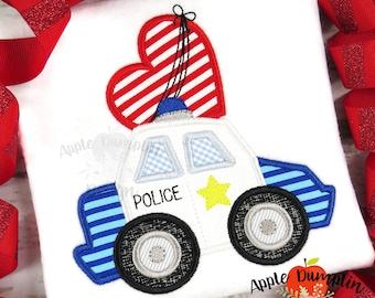 Applique Design 7x7 Bean Stitch 9x9 Police Car with Heart 4x4 8x8 Machine Embroidery 5x5 Boy Valentine Instant Download 6x6
