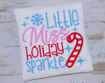 Little Miss Holiday Sparkle, Applique Design, Machine Embroidery Design, Girl, Christmas, Candy Cane, Snowflake, 4x4, 5x7, 6x10 #EM103