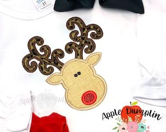 Applique curly antler Deer ruffle sleeve raglan