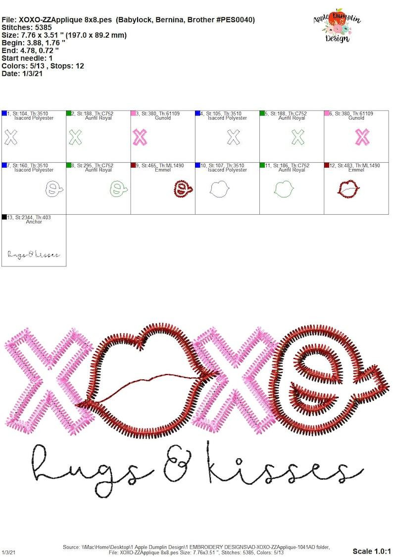 Zigzag Hugs and Kisses 4x4 Machine Embroidery 5x5 5x7 8x8 9x9 Applique Design Instant Download XOXO