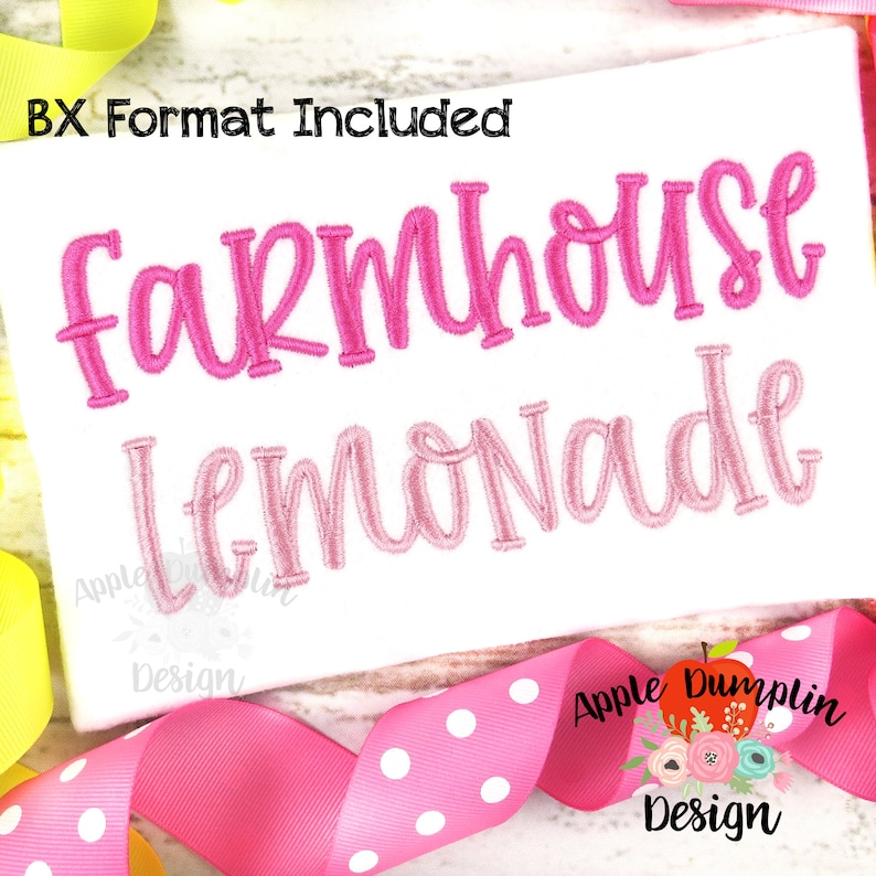Farmhouse Lemonade Complete Alphabet Embroidery Font BX image 0