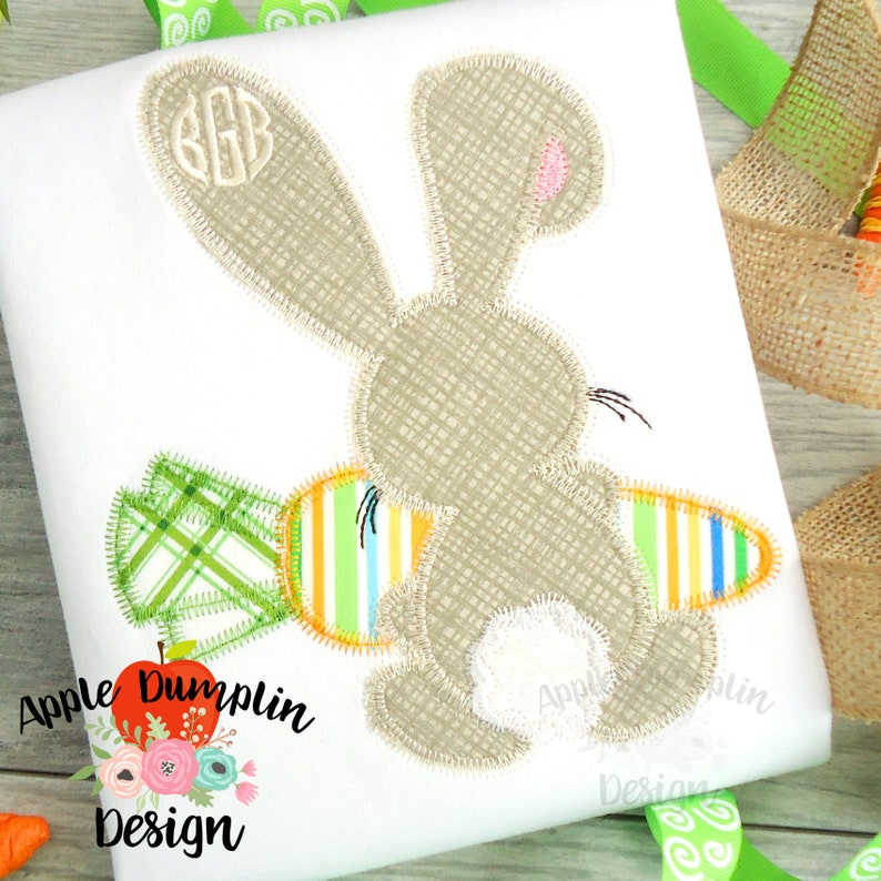 Bunny Backside Easter Applique 9x9 8x8 Machine Embroidery 4x4 Applique Design Zigzag Stitch 5x7 5x5 Instant Download
