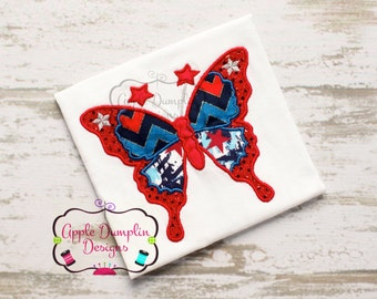 4th of July Butterfly Appliqué Machine Embroidery Design, Summer, Spring, Girl, Bug, Animal, Birthday, 4x4, 5x7, 6x10, 9x9